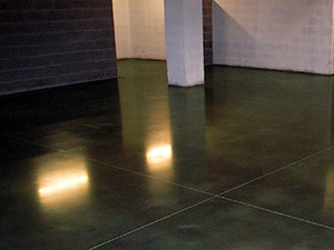 Coloured polished concrete floor