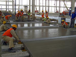 Constructing a long strip floor