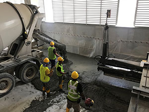 Pouring concrete for floor