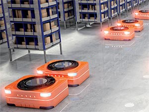 AMR Robots on Warehouse Floor