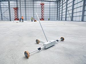 New! Transbar XR (eXtended Range) Meter Floor Profiler on Warehouse Floor.